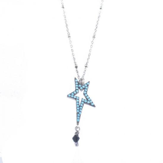 Κολιέ ασημένιο με σχέδιο αστέρι επιπλατινωμένο με τυρκουάζ και σπίνελ Μήκος καδένας 40-45cm