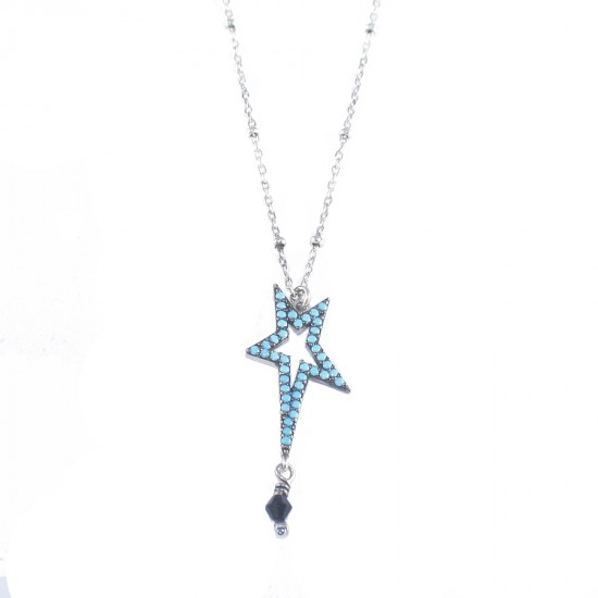 Sterling silver necklace with star design platinum with turquoise and spinel Length 40-45cm