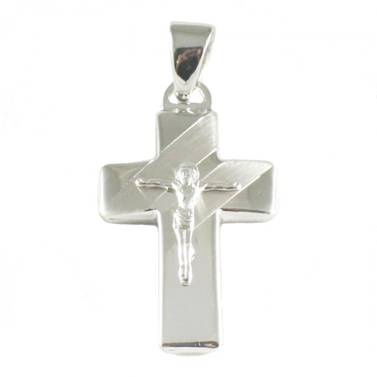 Cross silver two-tone polished and matte with the Crucified 4614