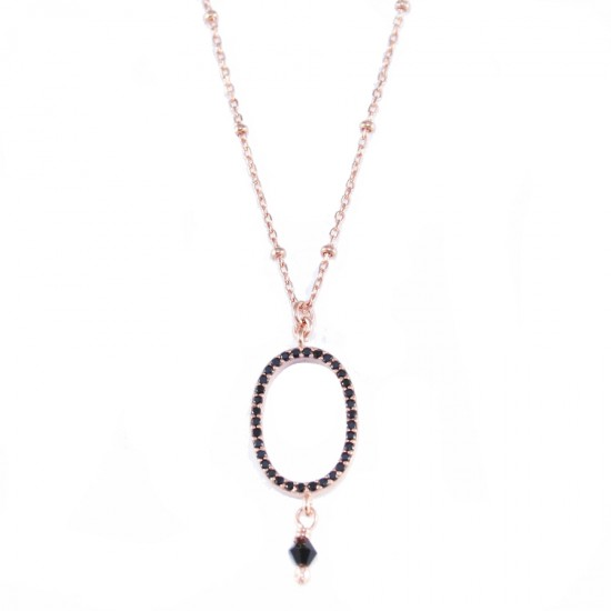 Sterling silver necklace with oval ring with black zircon rose gold plating and spinel Chain length 40-45cm