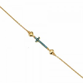 Rose gold K9 bracelet with Cross with blue zircon and hearts