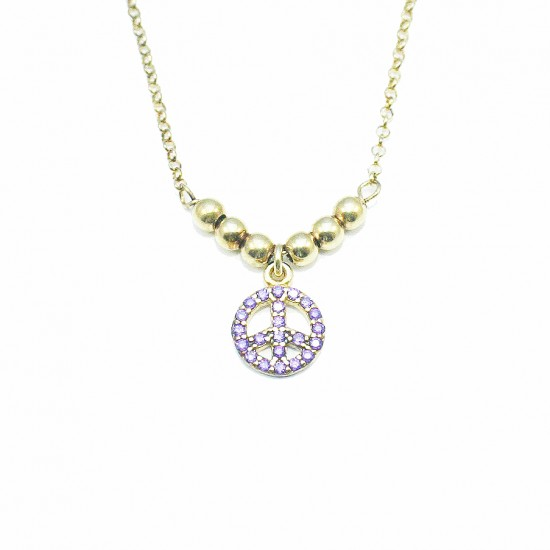 Silver necklace gold plated and amethyst color zircons Chain length 40cm-45cm