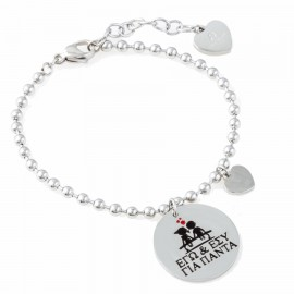 Stainless steel bracelet with heart and message me & you forever BK1791