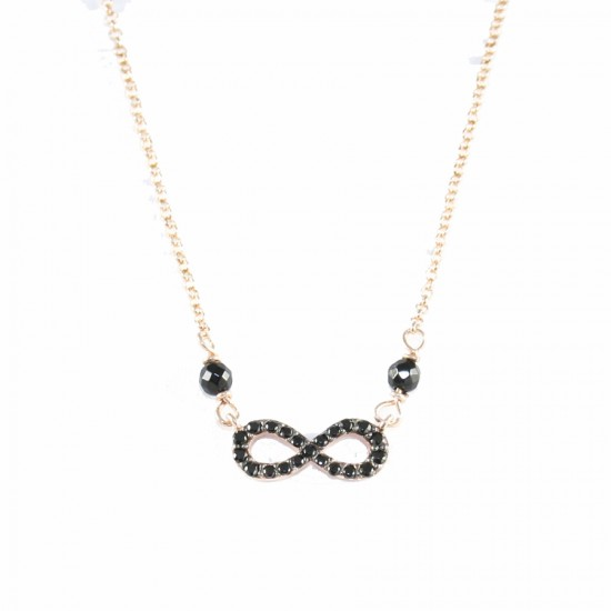 Sterling silver necklace with infinity with black zircon and spinel and rose gold plating 26626