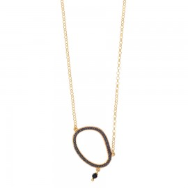 Silver necklace gold plated and black spinel Chain length 40cm-45cm