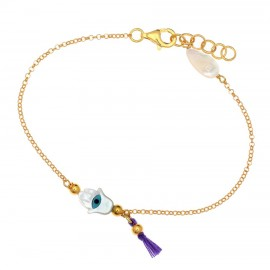 Silver baby bracelet gold plated and enamel elements