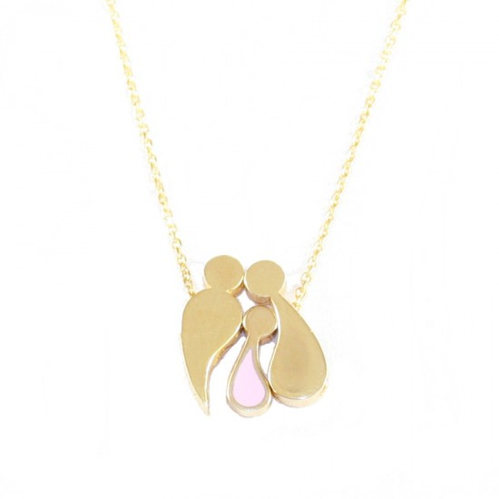Sterling silver necklace with the family with a little girl with pink enamel and gilded F1200M