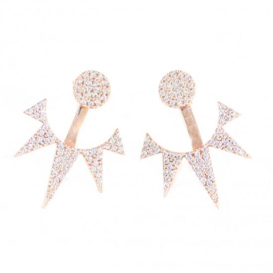 Σκουλαρίκια ασημένια κρεμαστά με λευκά ζιργκόν και ροζ επιχρύσωμα EA161422