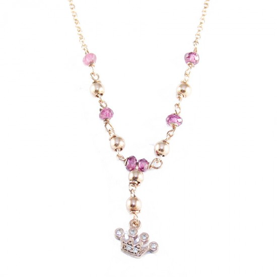 Silver necklace with crown with pink gold plated with colored stones and white zircons Strap length 40-45cm