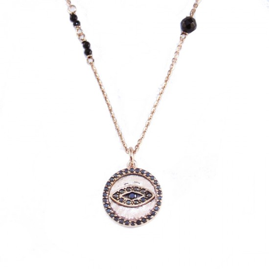 Sterling silver forged necklace with eye with rose gold plating black zircon and spinel Chain length 40cm-45cm