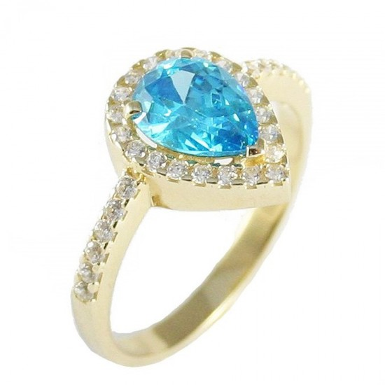 Gold rosette ring K14 with drop design with white zircon and stone in London blue color No.54 25213