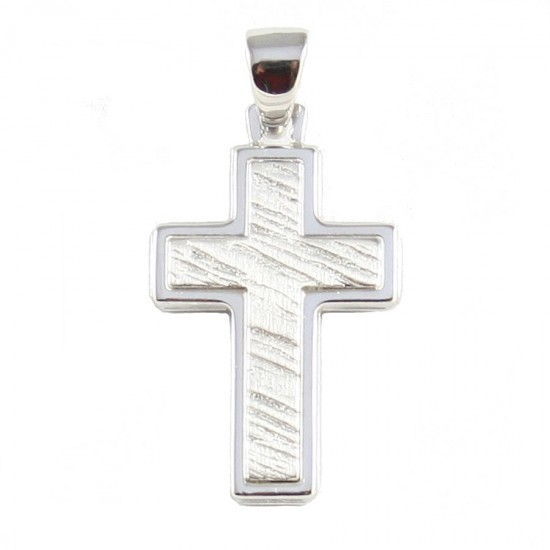 Cross silver two-tone polished and trimmed in the middle 43513
