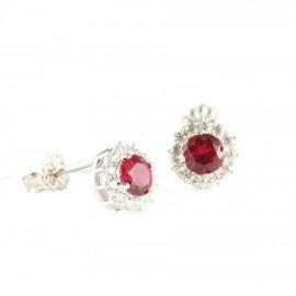 Σκουλαρίκια λευκόχρυσα Κ14 ροζέτες με λευκά και κόκκινα ζιργκόν 1412W