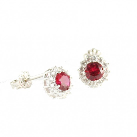 Earrings platinum K14 rosettes with white and red zircon 1412W