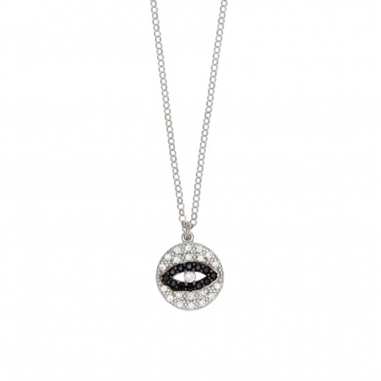 Silver necklace with eye design platinum with white and black zircons Chain length 40cm-45cm