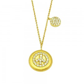 Silver necklace with the design of peace gold plated and white zircon Chain length 40-45cm