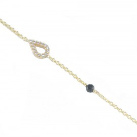 Silver bracelet gold plated with drop design with white zircon 09346