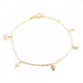 Gold bracelet K14 with motif crown cross heart eye with enamel and white zircon