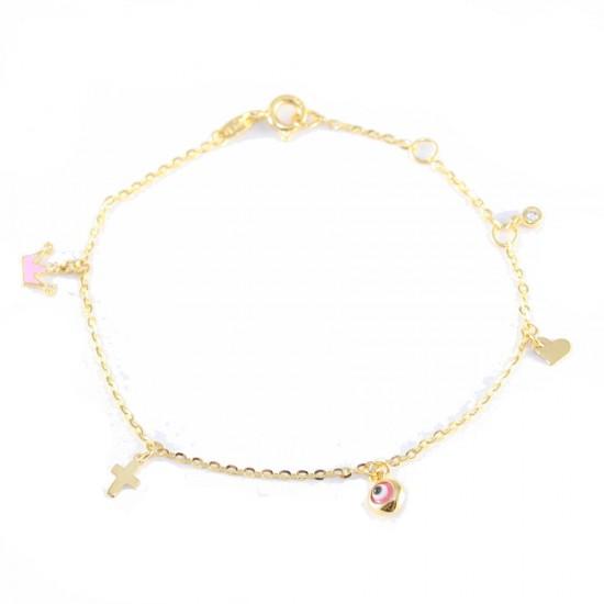 Gold bracelet K14 with motif crown cross heart eye with enamel and white zircon