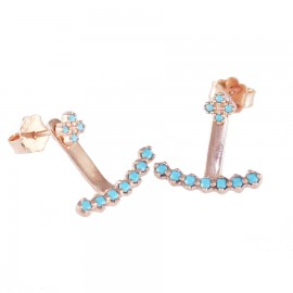 Sterling silver earrings bars with turquoise and rose gold plating 18788