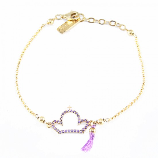 Silver bracelet with crown gold plated and zircon in amethyst color