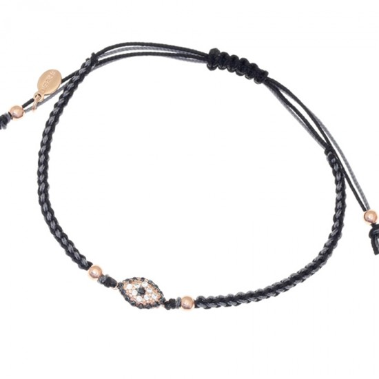 Sterling silver bracelet with two-tone macramé with pink gold plating and white zircon