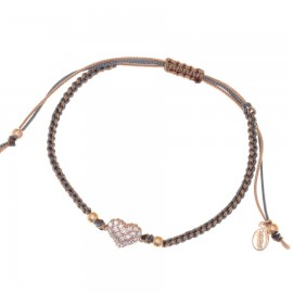 Silver bracelet macrame with white zircons and rose gold plated