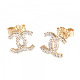 Rose gold earrings K14 with chanel design with white zircons 125106