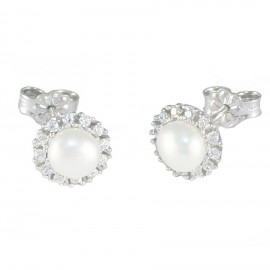 White gold rosette earrings K14 with pearls and white zircons 175148