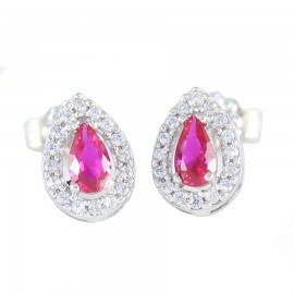 White gold rosette K14 earrings with white and red zircon 145123