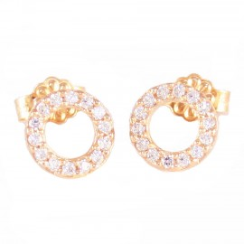 Rose gold earrings K14 ring with white zircon 11510