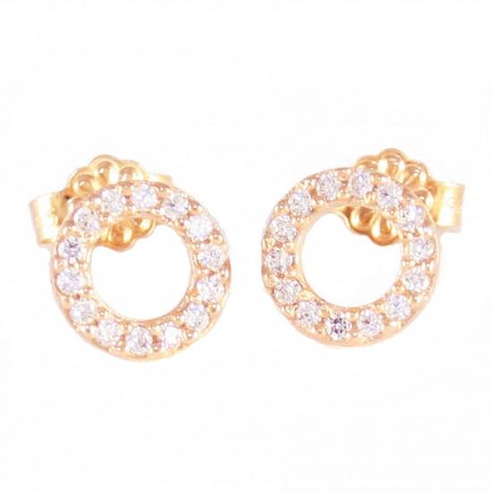 Σκουλαρίκια ροζ χρυσό Κ14 με κύκλους με λευκά ζιργκόν 11510