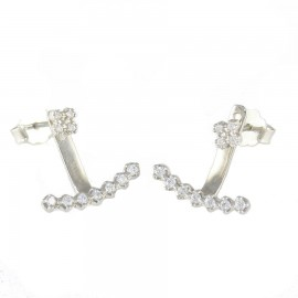 Sterling silver earrings bars platinum with white zircon 19788