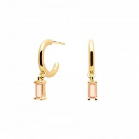 Earrings with silver pendants, gold plated with pink stones  AR01-118-U