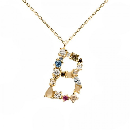 Necklace silver monogram B with colored zircons gold plated CO01-097-U