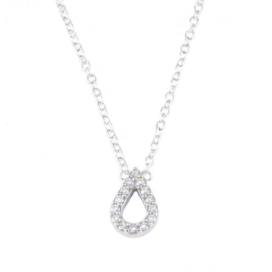 Silver necklace with drop with white zircons 14673