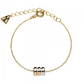 Gold plated brass bracelet with rings in three colors white pink and gold PU04-040-U