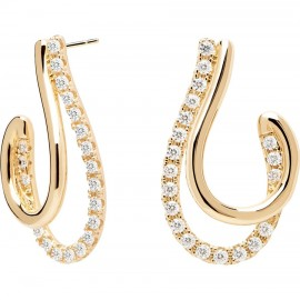 Gold plated brass earrings with white zircon  AR01-198-U