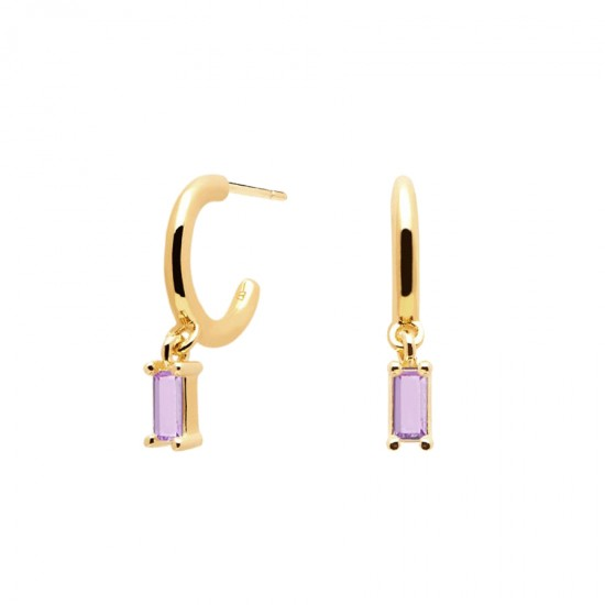 Earrings with silver pendants, gold plated with purple stones from the series peach alia by Pdpaola AR01-117-U