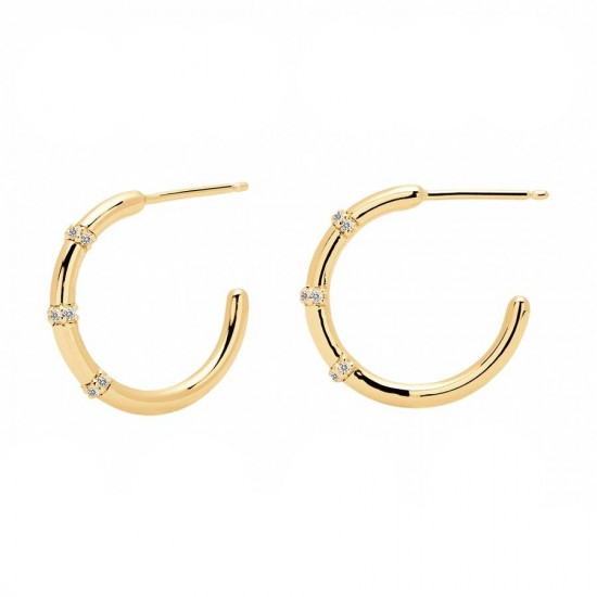 Silver hoop earrings with white zircon gilded by Bella by Pdpaola range AR01-104-U