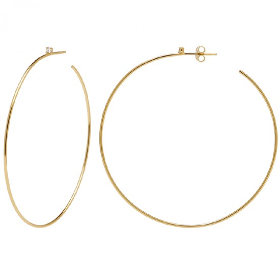 Silver hoop earrings with white zircon gilded by Serena by Pd paola series AR01-048-U