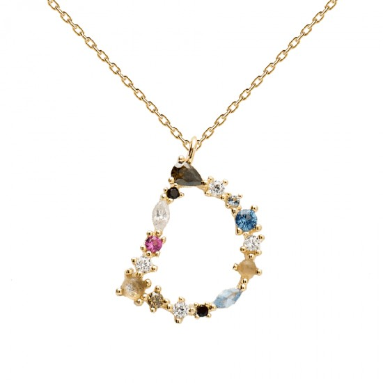 Silver monogram necklace the D with colored zircon gold plated by Pdpaola  CO01-099-U