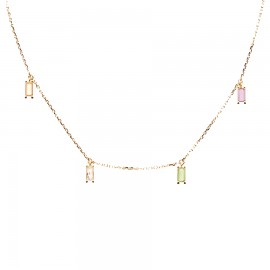 Silver gold plated necklace with pendants with colored zircon by Pdpaola CO01-137-U