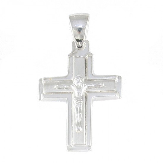 Sterling silver cross with the Crucified in matte and polished 2959