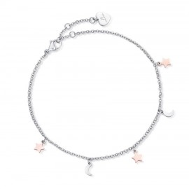 Stainless steel foot chain with the moon and pink stars CV116