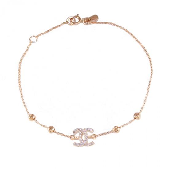 Βραχιόλι ροζ χρυσό Κ14 με λευκά ζιργκόν και σχέδιο chanel 142135