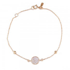 Bracelet rose gold K14 with white zircon and circle design 14135
