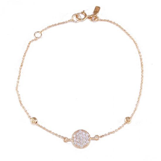 Βραχιόλι ροζ χρυσό Κ14 με λευκά ζιργκόν και σχέδιο κύκλος 14135