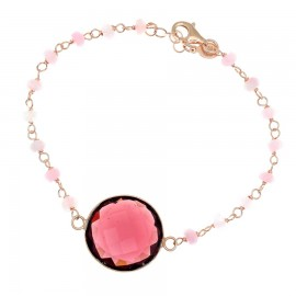 Silver rosary bracelet with synthetic stones in pink color and pink coating
