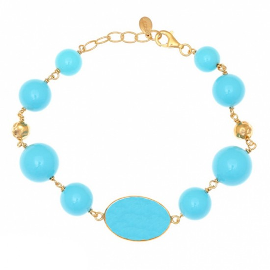 Silver rosary bracelet gold plated with turquoise and synthetic crystal